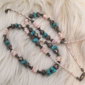 Jewelry - Pink turquoise and silver necklace/bracelet set